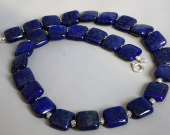 Necklace of natural Lapis Lazuli with 925 sterling silver between beads and clasp-gemstone necklace