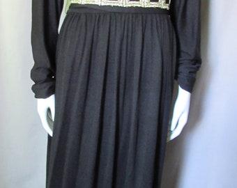 Knit Black Dress Turtleneck Dress Dolman Sleeves Gold Metallic Belt Nylon Knit Vintage Office Dress Vintage Fashions Size 13-14