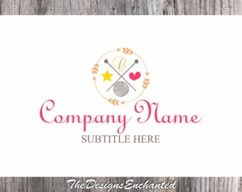 Logo Design OOAK Logo Premade Logo and Watermark Wool Ball Logo Knitting Logo Crochet Logo Thread Ball Logo Custom Logo Business Logo