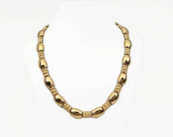 MONET Vintage Gold Tone Necklace, Shiny Gold with Matte Textured Beads, 17 Inch Adjustable Necklace, Office Jewelry