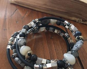 Black and Grey Stone Wrap Bracelet
