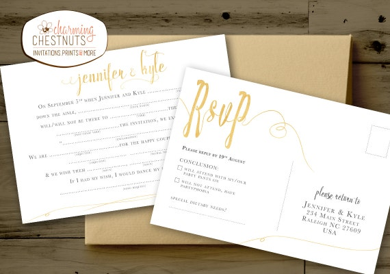 Madlib Rsvp Postcard White And Gold Wedding Madlib Funny