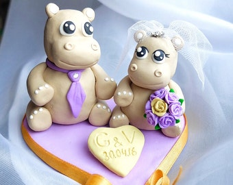 Hippo cake topper Hippo couple wedding cake toppers Wedding hippo Lovely hippo cake
