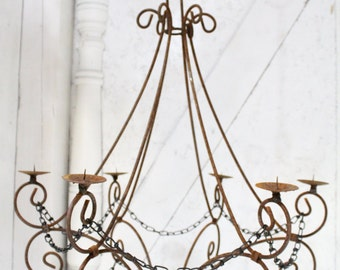 """Wrought Iron Candle Chandelier Lighting """"Master Double Teardrop"""" Use Indoor or Outdoor"""
