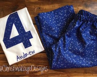 Custom name and number Boys blue star birthday pajamas