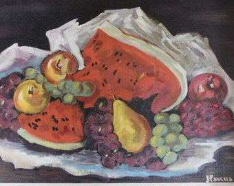 Still Life Fruit Oil Painting -  12 x 16 - Signed Dated Bohemian Modernist Wall Decor