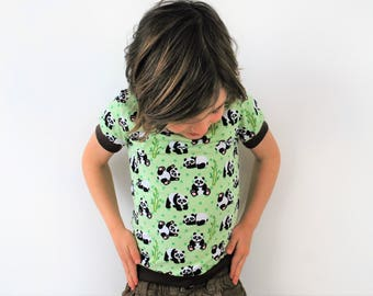 Green panda top t shirt spring summer unisex retro fitted vintage style pastel kitsch cute cotton animal print baby vest toddler t-shirt
