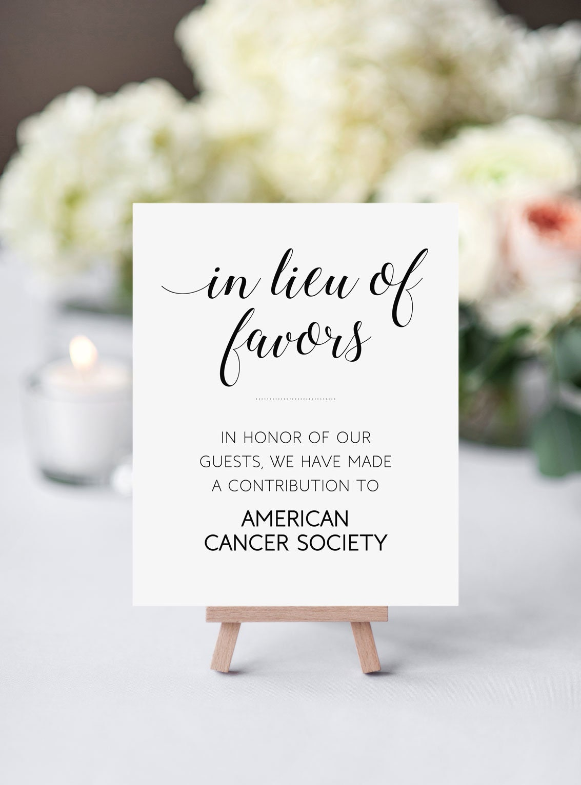 In Lieu Of Favors Sign Wedding Donation Sign Donate to