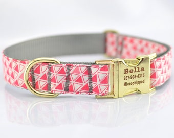 Engraved in free,Dog Collar with Personalized Buckle,multicolor Geometric Triangle