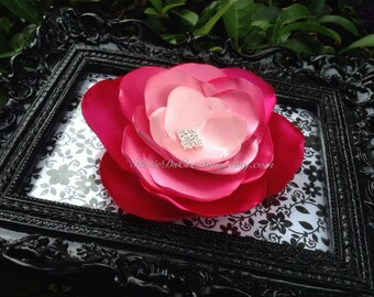 Pink Ombre Hair Flower / Fuchsia, Carnation, Bubble Gum and Pink Brooch / Facinator / Pink Ombre Wedding Accessory
