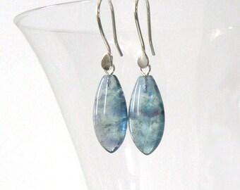 Fluorite Gemstone Leaf Shape Drop Earrings, Teal Blue Green Lavender Purple Banded Fluorite, Sterling Silver Ear Wire Options