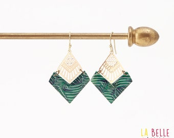 Diamond resin chevron pattern earrings palmes Green