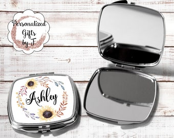 Bridesmaids Gifts, Personalized Bridesmaid Gift, Personalized Compact Mirror, Monogrammed Mirror, Sunflower design sun1