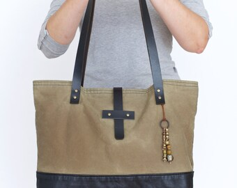 waxed canvas and leather tote bag - waxed cotton bag - olive and black tote bag - waxed canvas market bag - every day bag - diaper bag