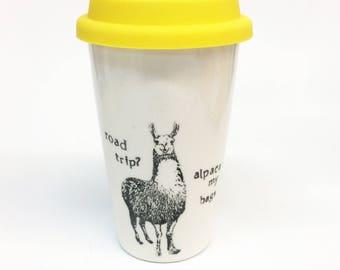 Road trip? Alpaca my bags! Llama Pun ceramic travel mug
