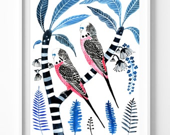 Pink Budgies on Frangipani Large A2 Signed Limited Edition Fine Art Giclée Print. Tropical, Australia, Parakeets, bird