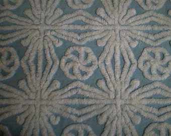 """Gorgeous HOFMANN BLUE with White SNOWFLAKES Vintage Chenille Bedspread Fabric - 24"""" X 24"""""""
