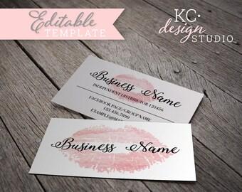 Pink Watercolor LipSense Business Card • Printable Digital Download • Watercolor Custom Business Branding • LipSense Marketing •
