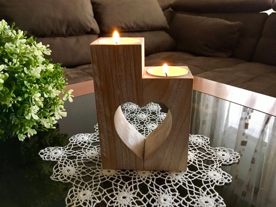 Mothers Day Gift for Mom Set of Handmade doily crochet and Wooden heart candle holder Doilies table decorations Lace doily Tealight holders