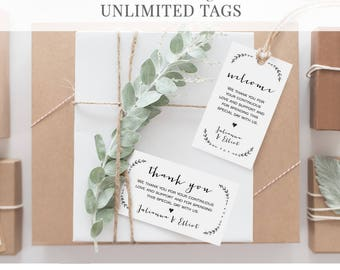 Wedding Thank You Tag Template, Favor Tag, Welcome Bag Tag, Printable, 100% Editable, Rustic Calligraphy, Instant Download, DIY #031-103TG