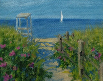 "Ocean Sea Beach Sailboat Roses Original signed Acrylic Painting square 4""x 4""x 1.5"""