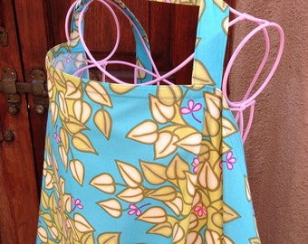 READY To SHIP - Beautiful Nursing Cover - Soiree Aqua Leaves Buds  - New Mom Baby Gift
