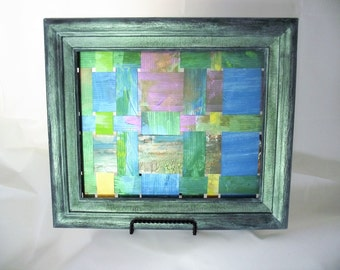 Art Upcycled Billboard Vinyl weaving blue green lime violet woven iridescent wall hanging office decor  13 x 11 wedding housewarming gift