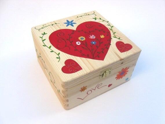 Large wedding memory box with heart design Wedding gift