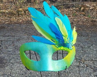 Chartreuse and Blue Feather Masquerade Fantasy Mask