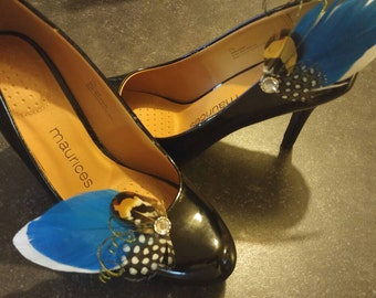 Teal Goose Feather Shoe Clip