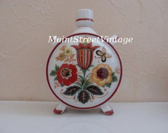 Zsolnay Hungarian Floral Porcelain Flask 1930s