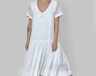 White  Omega Silk cotton dress -wedding dress - short sleeve dress- frill knee length  loose tunic- silk cotton dress - sexy oversize dress
