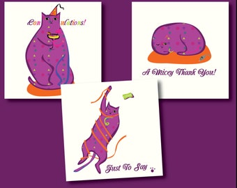 Quirky Cat Greeting Card Set (3)