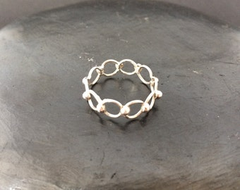 Sterling silver size 8 wire band ring 925 vintage thumb ring