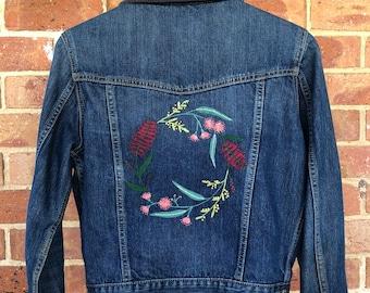 Hand-embroidered denim jacket - Australian native wreath - size small
