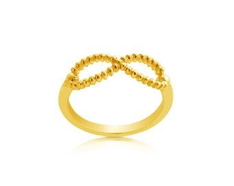 Beaded Infinity Symbol Spiritual Stackable Ring #14K Gold Plated over 925 Sterling Silver #Azaggi R0566G