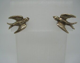 Vintage 9ct yellow gold swallow stud earrings