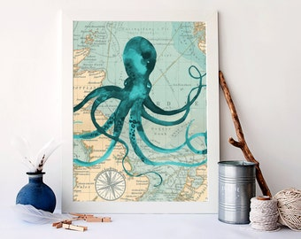 Vintage octopus map art, watercolour nautical print, nautical home decor, nautical nursery wall art, octopus poster, nautical art, A-1138