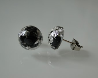Mini earrings with silver and Hematite