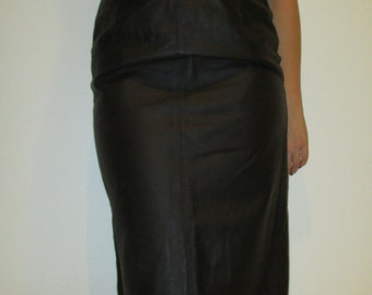 Real Genuine Leather High Waisted Pencil Skirt, 70s vintage