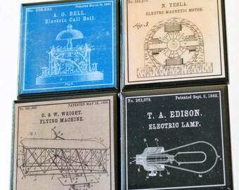 Patent Art Coasters, Great Inventors Wood Coaster Set, Nikola Tesla, Thomas Edison, Wright Brothers, Science Art, Science Decor, Geek Gift