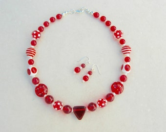 SALE - 50% off, Fun Red & White Lampwork Glass Bead Choker, Red Vintage Glass Beads, Matching Red Earrings, Necklace Set by SandraDesigns