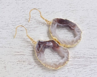 Gift For Her, Geode Slice Earrings, Natural Geode Earrings, Druzy Earrings, Raw Gemstone Earrings, Dangle Clip-ons, Mom Gift For Wife G5-208