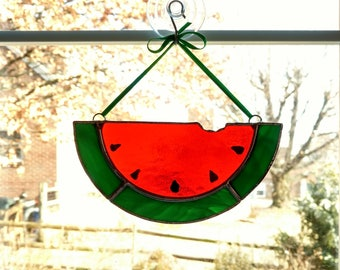 Stained Glass Watermelon Slice Suncatcher - Housewarming Gift - Summer Decor - Watermelon Ornament - Picnic Barbecue Gift - Hostess Gift
