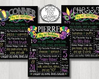 MARDI GRAS Boy's 1stBirthday Invitation Fat Tuesday Mardi Gras Party Invitation 1st Sweet 16 Green Purple Gold Watercolor