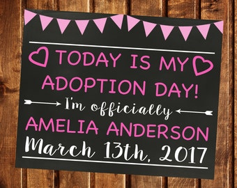 Adoption Announcement, Adoption Day, Printable, Adoption Gifts, Adoption chalkboard sign, Adoption Printable, Adoption card, Girl Adoption
