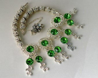 Old Hollywood Wedding Jewelry, Swarovski Crystal Necklace, Formal Evening Jewelry, Exotic Green