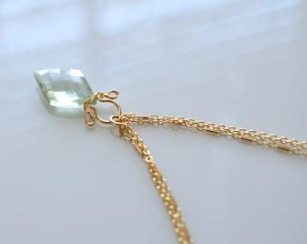Petite Celine - Prasiolite, 14k Gold Filled Necklace || Prasiolite Necklace || Pale green gold pendant || Green stone necklace