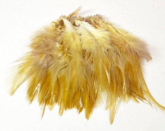 Rooster Saddle Feathers - Blonde, 2 inch strip (50-60pcs)#31
