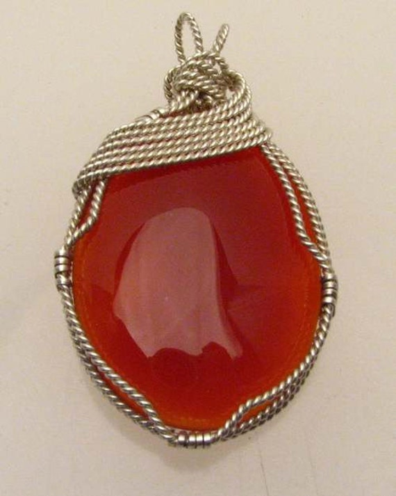 Handmade Solid Sterling Silver Wire Wrap Carnelian Cabochon Pendant